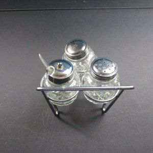 Vintage Kitchen - Stainless and Glass Wheel Barrel Table Caddy.